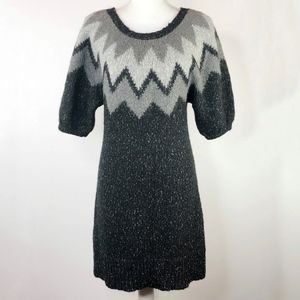 Anthropologie Gray Chevron Striped Sweater Dress